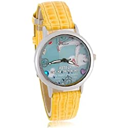 Buy 3D High-Heels Pattern Women's Analog Watch with PU Leather Strap (Yellow) M.