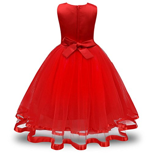 chen Prinzessin Brautjungfer Pageant Tutu Tüll Kleid Party Hochzeitskleid (rot, 130) (10 Brief Halloween-wort)