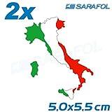 2x Italien Stiefel Aufkleber (Nr.032) Adesivo Tricolore Italia Italy Sticker 5,0x5,5cm