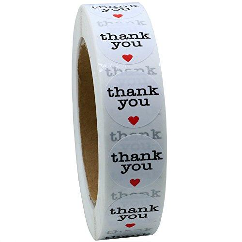 'NEW Hot vendita 2,5cm Thank You adesivi rotondo con cuore rosso 1000Etichette per Rotolo totale