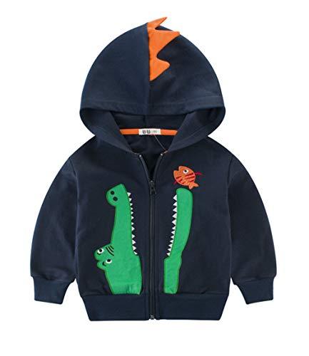 Mibuy Kinder Junge Mantel mit Reißverschluss Cartoon Krokodil Drucken Sweatshirt Herbst Winter Warm Strickjacke Kinderbekleidung -