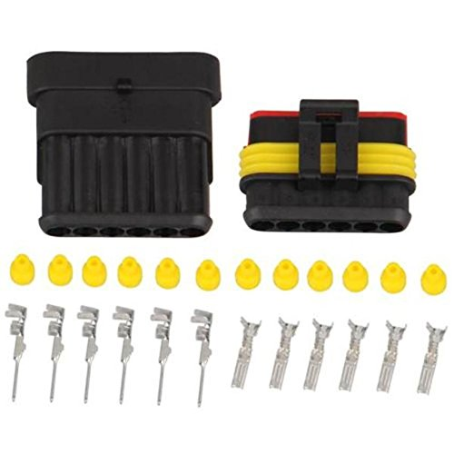 Preisvergleich Produktbild 5Sets Kit 6Pin Way AMP Super Seal Wasserdicht Electrical Wire Connector Stecker für KFZ