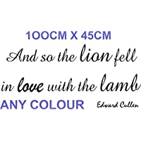 TWILIGHT WALL QUOTE ART VINYL STICKER LION LAMB 100x45Cm