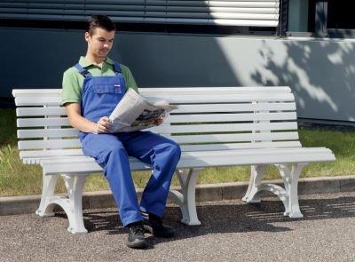Parkbank aus Kunststoff – mit 13 Leisten – Breite 2000 mm, stahlblau – Bank Gartenbank Kunststoff-Bank Kunststoff-Bänke Ruhebank - 2