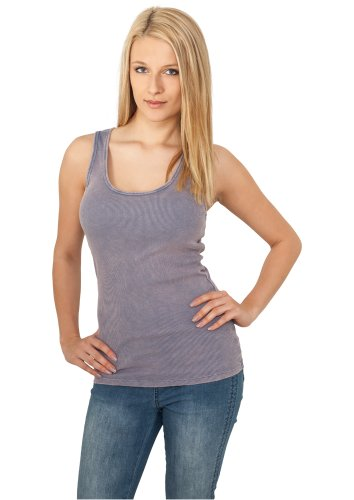 URBAN CLASSICS Ladies Faded Tanktop, denim blue Denim Blue