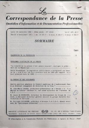 CORRESPONDANCE DE LA PRESSE (LA) [No 101...