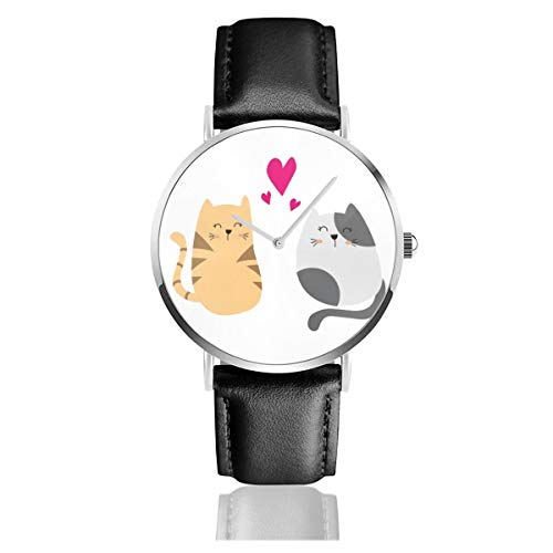 Business Analog Watches,Cute Cat In Love Classic Stainless Steel Quartz Waterproof Wrist Watch with Leather Strap