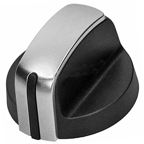 Herd-brenner-knöpfe (spares2go Gas Flamme Schalter Knopf, für Hotpoint Herd Ofen (Silber/Schwarz))
