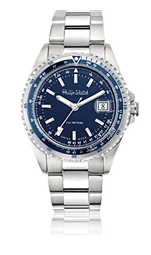 Philip-Caribe-Mens-Quartz-Watch-with-Blue-Dial-Analogue-Display-and-Silver-Stainless-Steel-Strap-R8253597020