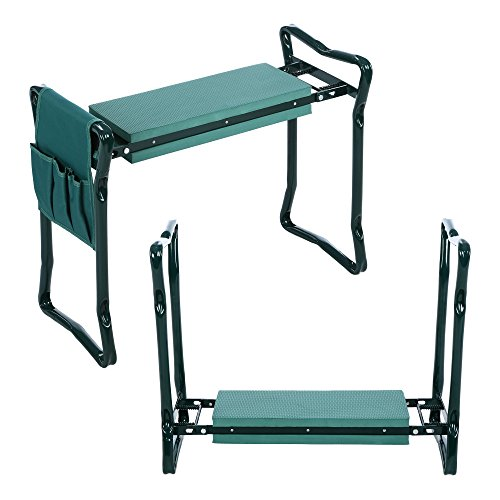 Oliote Kniebank 60 x 27 x 49 cm Gartenbank Hocker Sitzunterlage Klappbar mit EVA Schaumkissen Werkzeugtasche