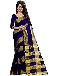 BEST COLLECTION Women's Art Silk Zari Work Saree With Blouse Piece BC_1_5LINE_BLUE_Free Size