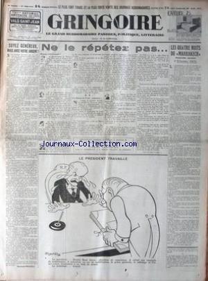 GRINGOIRE [No 356] du 30/08/1935 - LES QUATRE NUITS DU MARRAKECH PAR ETIENNE GRIL - SOYEZ GENEREUX MAIS AVEC VOTRE ARGENT - R. RECOULY - ROGER ROY. par Collectif