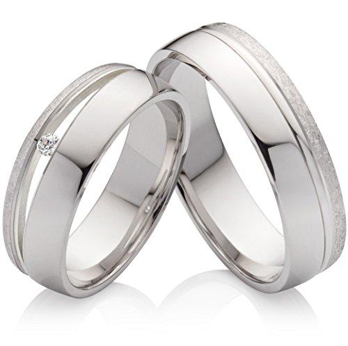 Eheringe Verlobungsringe Trauringe aus 925 Silber mit einem Diamant und kostenloser Gravur SPB59