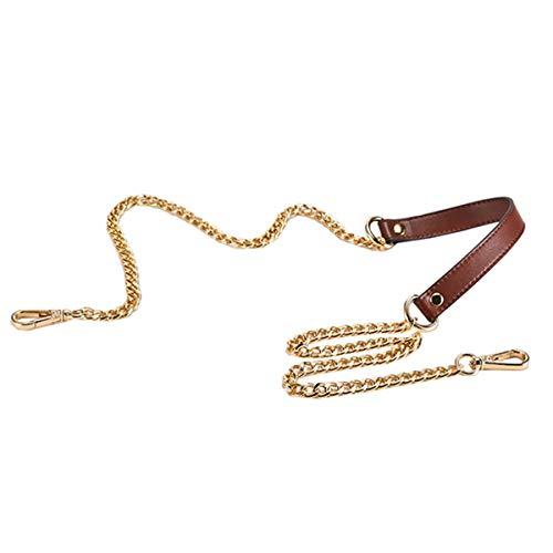 riemen Ersatzkette Leder Metall Kette unverstellbar für Crossbody Handtaschen Schultertasche Geldbeutel DIY 104,79 cm lang braun ()