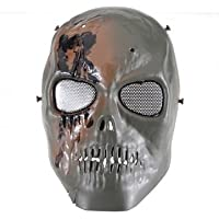 Alta qualità scheletro esercito paintball BB Gun Full Ghost Game Face Mask–nero