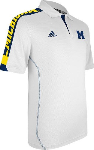 Michigan Wolverines Adidas 2012 Sideline Swagger Performance Polo Shirt - White