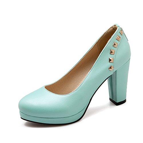 AgooLar Femme à Talon Haut Matière Souple Mosaïque Tire Rond Chaussures Légeres Bleu