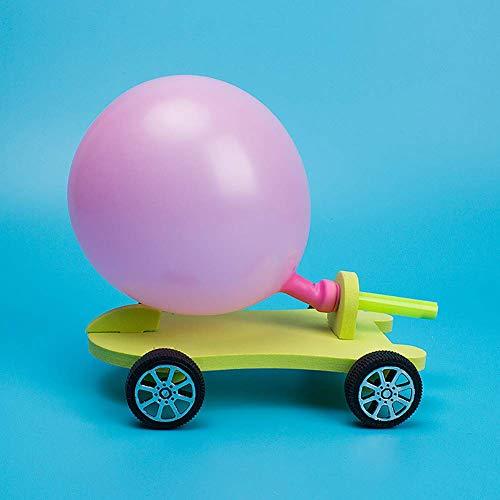Ogquaton Desarrollo Niños Juguete para niños DIY Globo Power Car Recoil Force Kit Experimento tecnológico Juguete Educativo para niños - Color Aleatorio