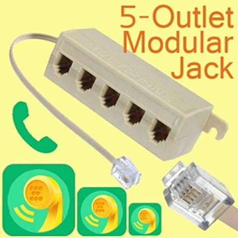 [Spedizione gratuita 7~12 giorni] nuovo 5 outlet presa telefonica linea telefonica splitter marchio // Brand New 5 Outlet Telephone Phone Splitter Line Jack