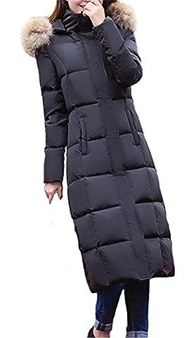 Queenshiny® Damen Lange Daunenjacke Mantel Jacke mit Waschbär Pelz kragen mit Kapuze Winter Schwarz