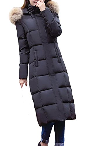 Queenshiny® Damen Lange Daunenjacke Mantel Jacke mit Waschbär Pelz kragen mit Kapuze Winter Schwarz 40