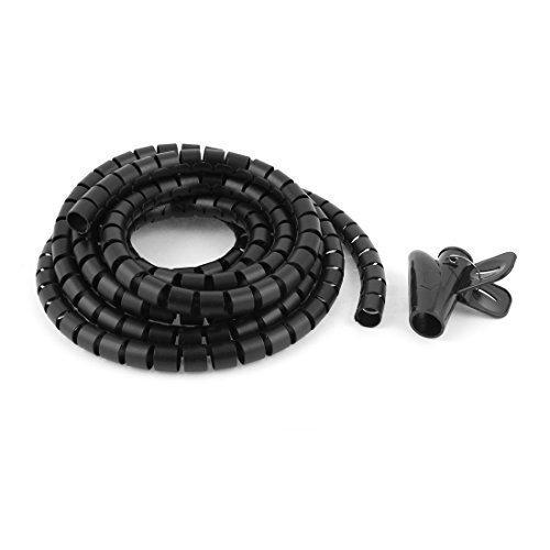 3meter 3m 15mm diametro interno nero spirale cavo inserti Wrap W clip