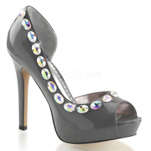 Lumina fabulicious - 38–plateforme d'orteils sexy ouvert orsay, escarpins femme avec strass gris foncé 35–41 Pewter Pat