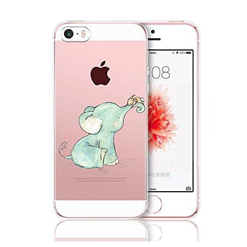 Qissy®TPU Case für iPhone 5 5S SE -Silikon-Hülle Soft Shell-Fall-Schutz Anti Shock Silikon Anti-Staub-beständig Tierischer Elefant (iPhone 5 5S SE, 5) 1