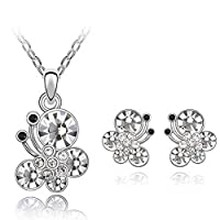 Beydodo Alloy Earrings Necklace (Jewelry Set) For Women Butterfly Purple