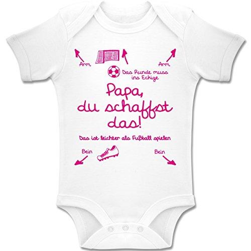 Shirtracer Strampler Motive - Papa du schaffst das Fußball Mädchen - 1-3 Monate - Weiß - BZ10 - Baby Body Kurzarm Jungen Mädchen - Fußball Body