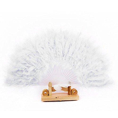 Koly Pluma Abanico plegable Apoyos para la danza Mano Boda (Blanco)