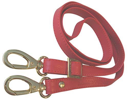 Josephine Osthoff Handtaschen-Manufaktur 2 cm Leder Schulterriemen - Rot/Gold - Trageriemen, Riemen Gurt Schultergurt Lederriemen - Leder Bügel Riemen