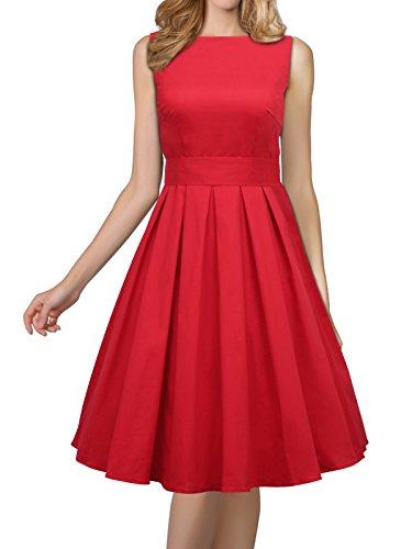 er 1950er Jahre Rockabilly-Schwingen-Weinlese-Kleid-Partei-Kleid , Rot - Gr. XXL (60er-jahre-girl-outfits)