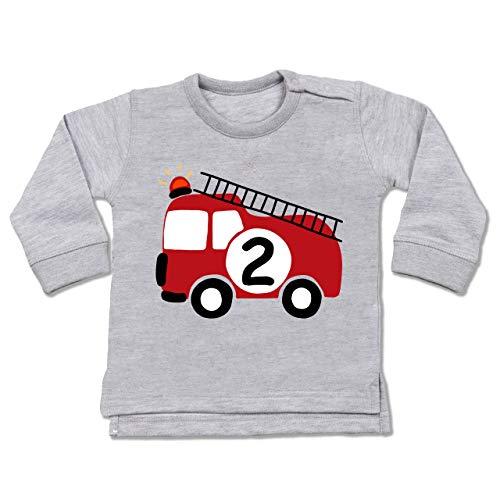 Shirtracer Geburtstag Baby - Feuerwehr Geburtstag 2-18-24 Monate - Grau meliert - BZ31 - Baby Pullover