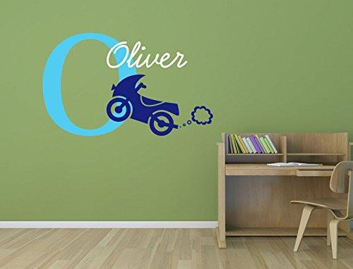 Med Motor (Personalisierte Namen, Initiale und Motor Bike. Kids Premium Vinyl Wand Aufkleber Aufkleber light blue/Med Blue/White)