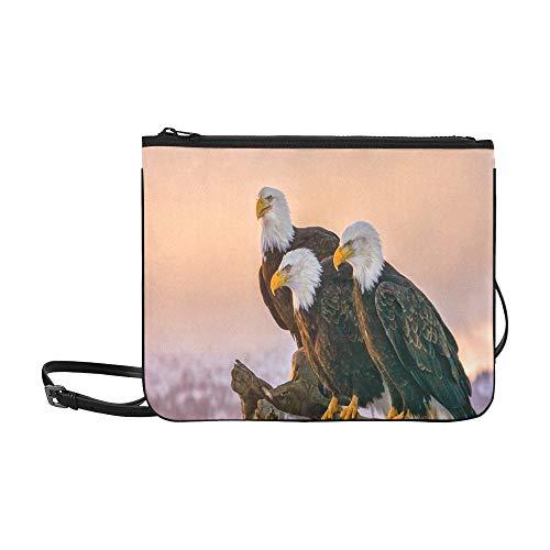 WYYWCY Drei amerikanische Weißkopfseeadler Barsch auf benutzerdefinierten hochwertigen Nylon Slim Clutch Cross Body Bag Schultertasche -