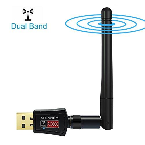ANEWISH® Adattatore USB WIFI 5 GHz Antenna WiFi 600Mbps Scheda Wifi Dual Band USB WiFi Wireless Chiavetta per PC/Desktop/Laptop/Tablet, Supporto Windows 10/8/7/Vista/XP/2000, Mac OS X
