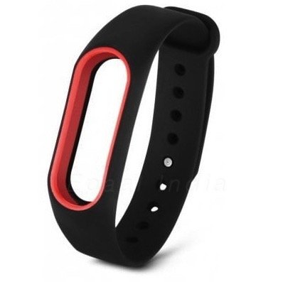 Epaal® Xiaomi Mi Band 2 Dual Color Wearable Wristband Smartband Strap Silicone Case (Black - Red Line)