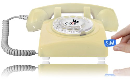 Opis Technology OPIS 60s MOBILE m vil de sobremesa tel fono fijo con sim tel fono m vil para mayores tel fono retro m vil con disco de marcar
