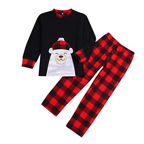 AMUSTER Famiglia Pigiami Natale Pigiama Bambina Natale Maniche Lunghe Pigiama Donna Ragazze Due Pezzi Pigiama Uomo Costume Natale Camicie da Notte Invernali Pigiama Natale Famiglia