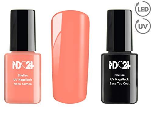 SHELLAC Spar SET - 1 x UV LACK + 1 x BASE TOP COAT - Neon salmon - ORANGE - UV Nagellack Polish Gel-Lack Schellack Soak Off - BESTSELLER Studio ()