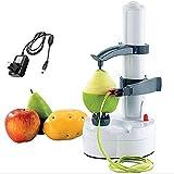 Máquina de Peeler de cocina de acero inoxidable, Peeler eléctrico giratorio automático de Apple Peeler Peeling de papa multifunción Máquina de Peeler de frutas y verduras (blanco)