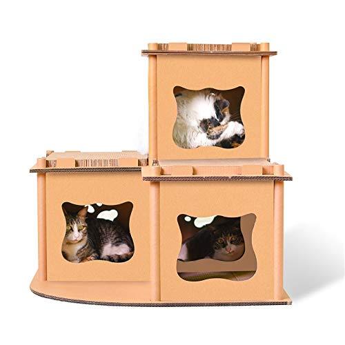 Tierspielzeug CELINEZL CP-178 Katze Villa Wellpappe Katzenkratzbrett Katzenstreu Schleifen Klaue Spielzeug (Holz) (Farbe : Wood) - Cp-holz