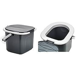 BRANQ Toilettes 15,5 litres de camping toilettes seau WC extérieur Voyage (noir)