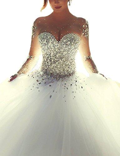Topquality2016 Damen Kristall Perlen Prinzessin Lange ?rmel Hochzeitskleid Brautkleid Gr??e 10 Elfenbein
