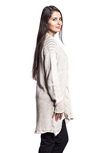 Abbino 1402 Strickjackes en Laine Cardigans Femmes - Fabriqué en Italie - 4 couleurs - Été Automne Hiver Plaine Longues Manches Chaud Vintage Classique Casual Élégante Promotion - Taille Unique Beige