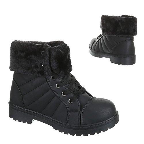 Ital-Design, infrarouge 520, bottines pour femme chaude boots doublée Noir - Noir
