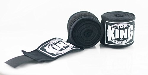 TOP KING Boxing TKHWR-01 Premium Cotton Boxing Hand Wraps Protector (Black) -