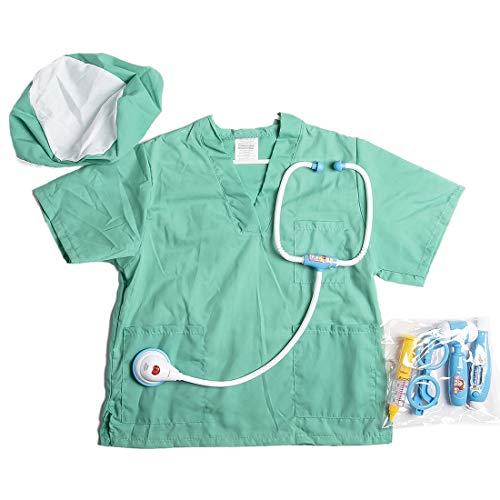 Rolanli Kinder Arztkittel, Simulation Arztkittel Rollenspiel Kostüm Set für Kinder 3-8 Jahre