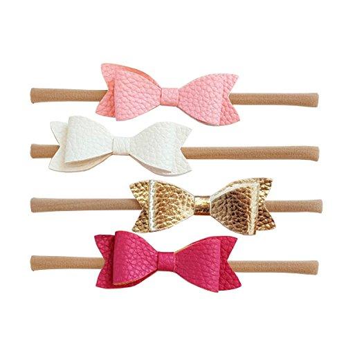 Jolieer 4 Stück Boutique Qualität Baby Mädchen Haar Bogen Haar Bands Elastische Stirnbänder Babygeschenke Taufe Geschenksets (Baby-bögen Boutique)